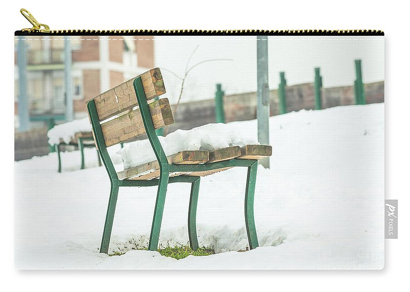 Bench Carry-all Pouch featuring the photograph Bench With Snow by Benny Marty