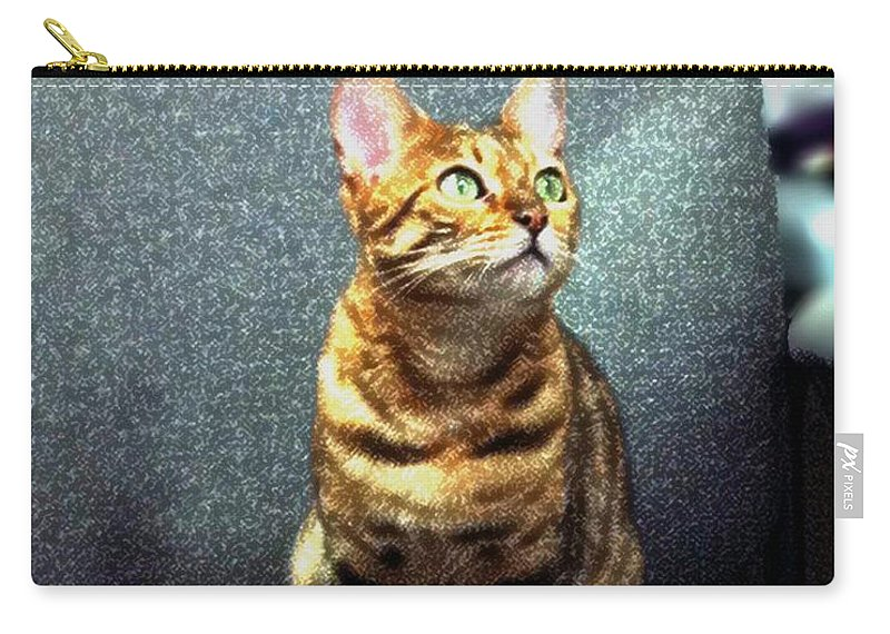 Bengal Cat Carry-all Pouch featuring the photograph Bengal Cat Oil Pastel by Barbara Griffin