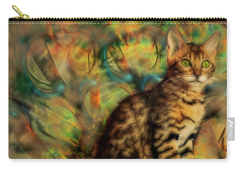 Bengal Kitten Carry-all Pouch featuring the digital art Bengal Kitten by John Robert Beck
