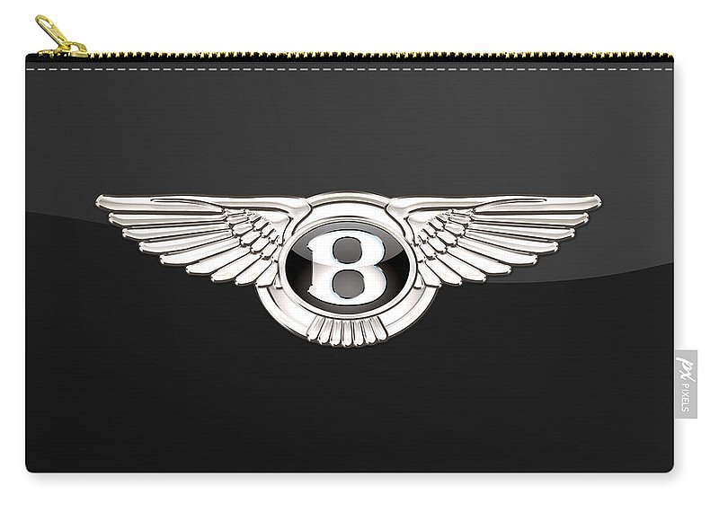 'wheels Of Fortune' By Serge Averbukh Carry-all Pouch featuring the photograph Bentley - 3 D Badge On Black by Serge Averbukh