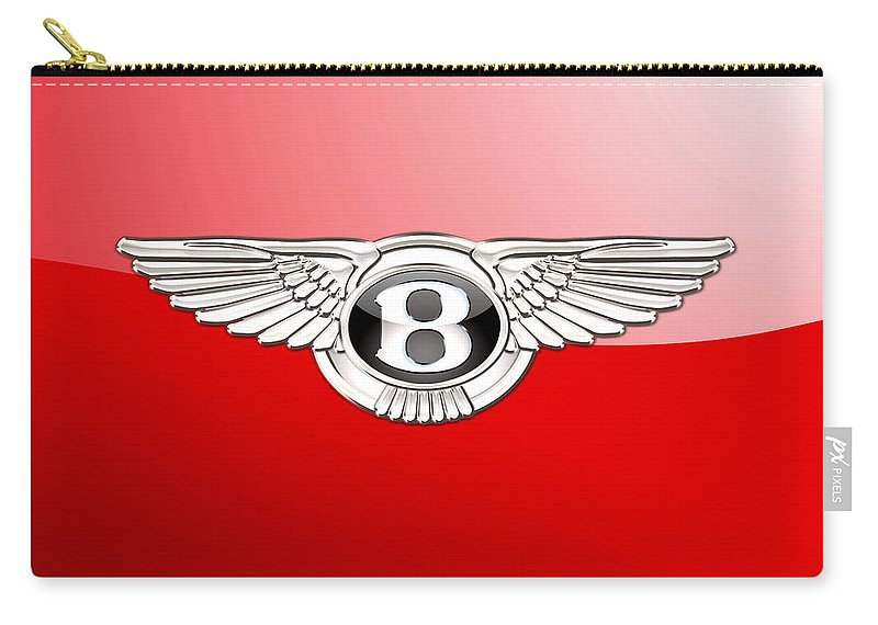 Wheels Of Fortune� Collection By Serge Averbukh Carry-all Pouch featuring the photograph Bentley 3 D Badge on Red by Serge Averbukh