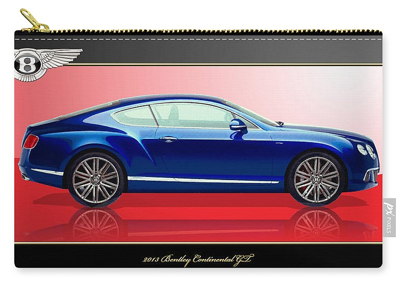 Wheels Of Fortune By Serge Averbukh Carry-all Pouch featuring the photograph Bentley Continental Gt With 3d Badge by Serge Averbukh