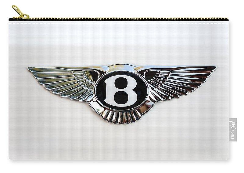 Bentley Emblem Carry-all Pouch featuring the photograph Bentley Emblem -0081c by Jill Reger