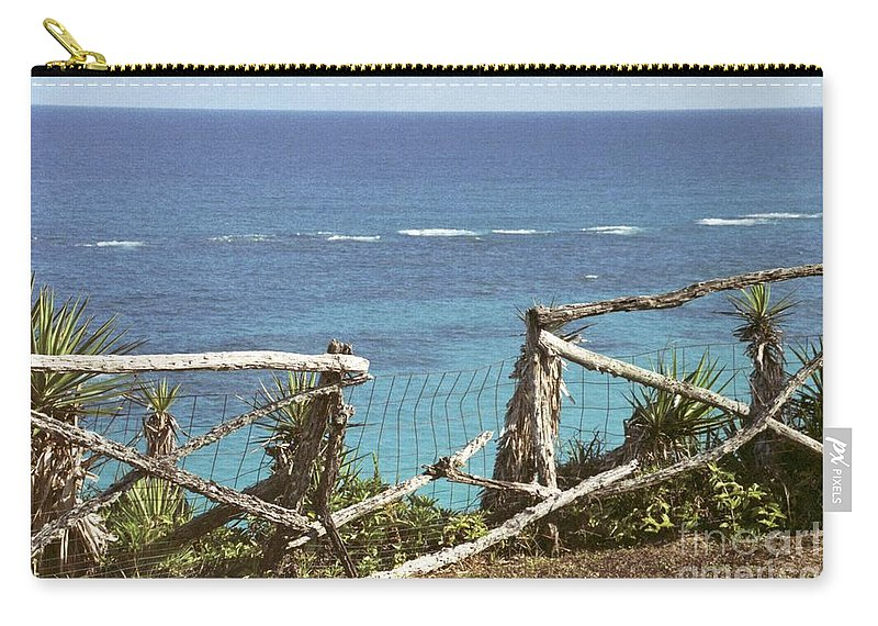 Bermuda Carry-all Pouch featuring the photograph Bermuda Fence And Ocean Overlook by Heather Kirk