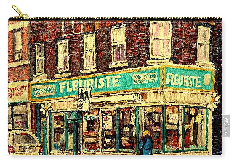 Bernard Florist Carry-all Pouch featuring the painting Bernard Florist by Carole Spandau