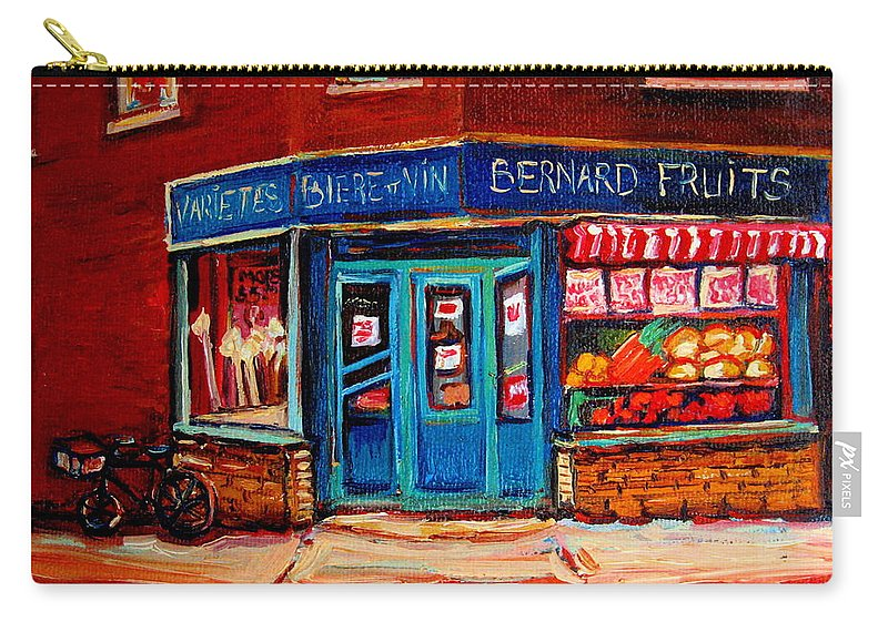 Bernard Fruit And Broomstore Carry-all Pouch featuring the painting Bernard Fruit And Broomstore by Carole Spandau
