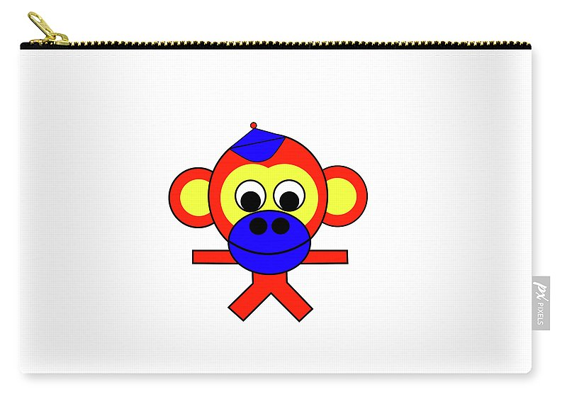 Bernhard The Monkey Carry-all Pouch featuring the digital art Bernhard the Monkey by Asbjorn Lonvig