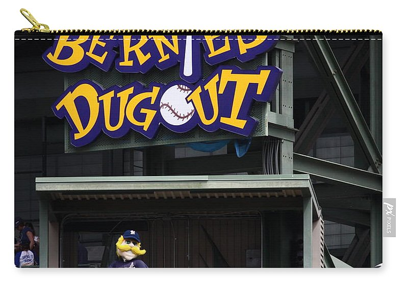 Milwaukee Brewers Carry-all Pouch featuring the photograph Bernies Dugout by Steve Bell
