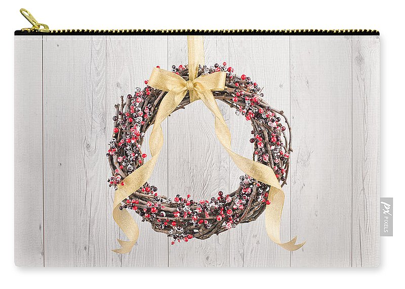 Advent Carry-all Pouch featuring the photograph Berry Decorated Wreath by U Schade