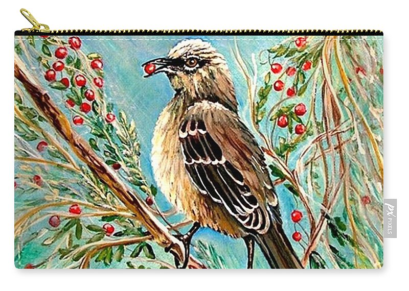 Mocking Bird Carry-all Pouch featuring the painting Berry Picking Time by Carol Allen Anfinsen
