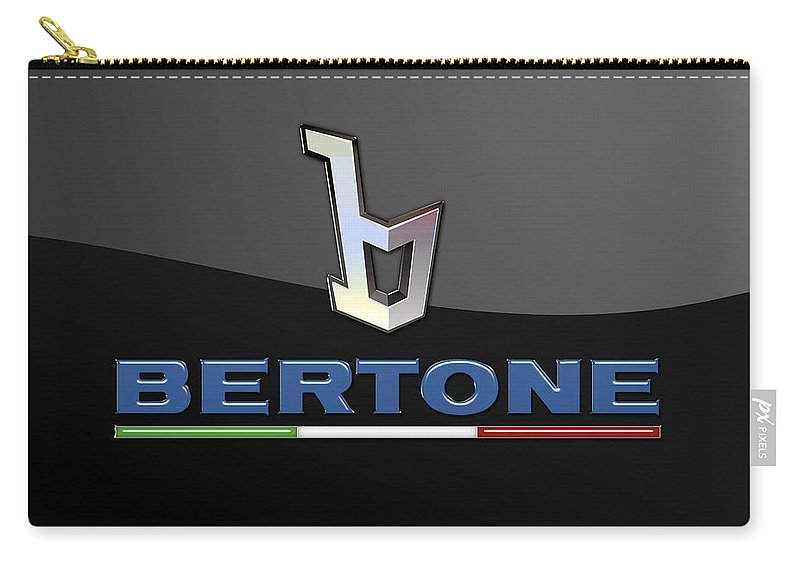 'auto Badges' Collection By Serge Averbukh Carry-all Pouch featuring the photograph Bertone - 3 D Badge On Black by Serge Averbukh