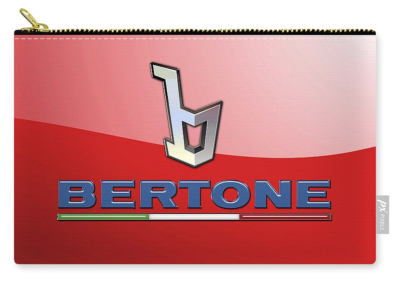 �wheels Of Fortune� Collection By Serge Averbukh Carry-all Pouch featuring the photograph Bertone 3 D Badge on Red by Serge Averbukh