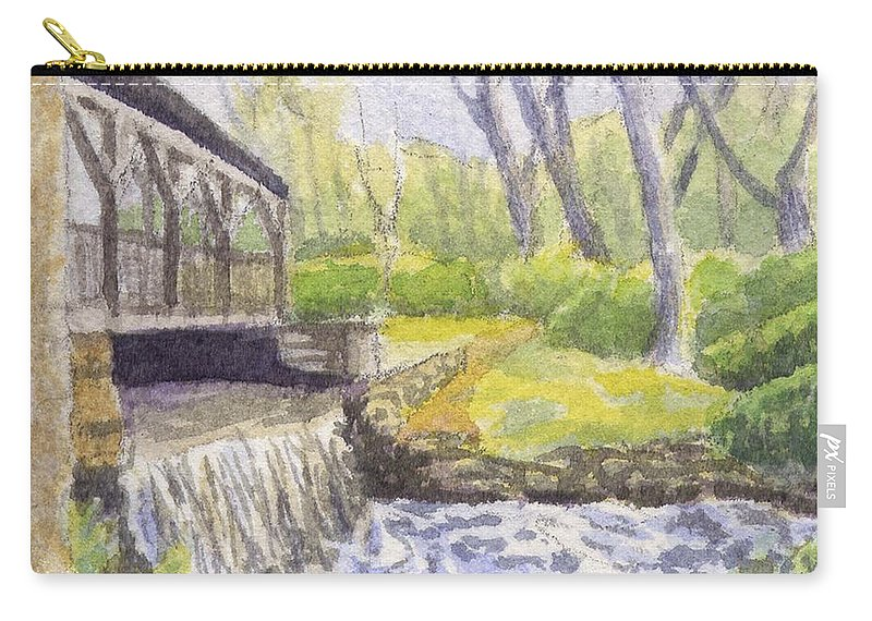 Moore State Park Carry-all Pouch featuring the painting Beside The Dam by Sharon E Allen
