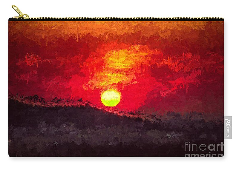 Beskidy Carry-all Pouch featuring the digital art Beskidy Sunset by Mariola Bitner