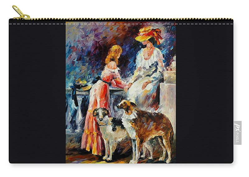 Afremov Carry-all Pouch featuring the painting Best Friends by Leonid Afremov