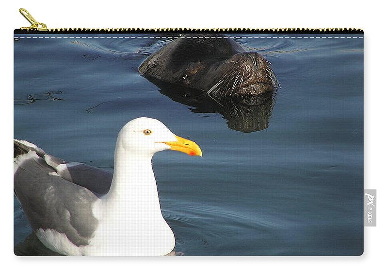 Seagull Carry-all Pouch featuring the photograph Best Friends by Louise Magno