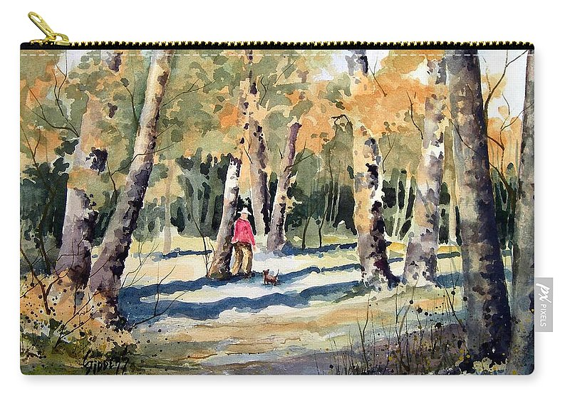 Dog Carry-all Pouch featuring the painting Walking With A Friend by Sam Sidders