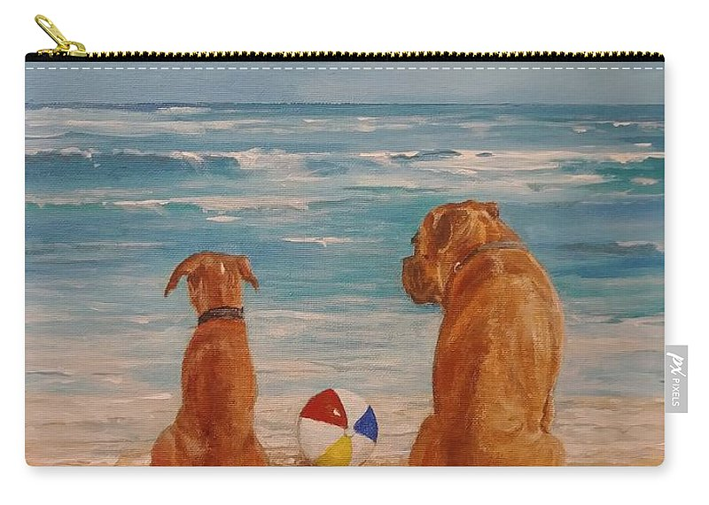 Beach Carry-all Pouch featuring the painting Best Friends by Sinisa Saratlic
