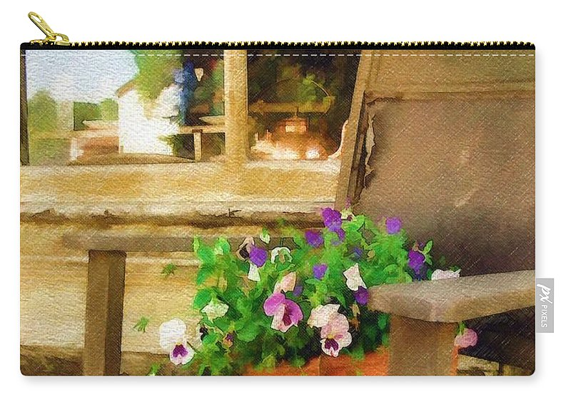 Pansies Carry-all Pouch featuring the photograph Best Seat in the House by Sandy MacGowan