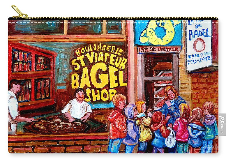 Children Carry-all Pouch featuring the painting Bet You Cant Eat Just One by Carole Spandau
