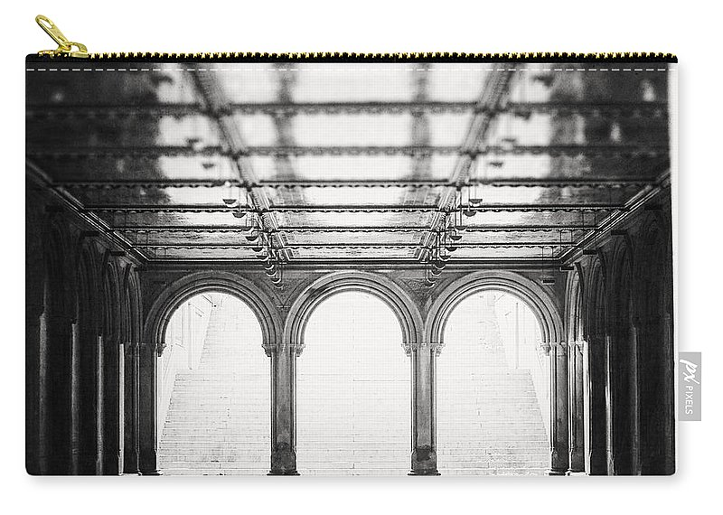 Nyc Carry-all Pouch featuring the photograph Bethesda Terrace In Black And White by Lisa Russo