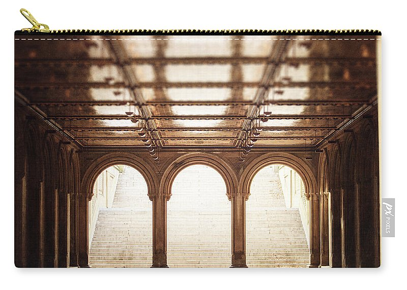 Nyc Carry-all Pouch featuring the photograph Bethesda Terrace In Color by Lisa Russo