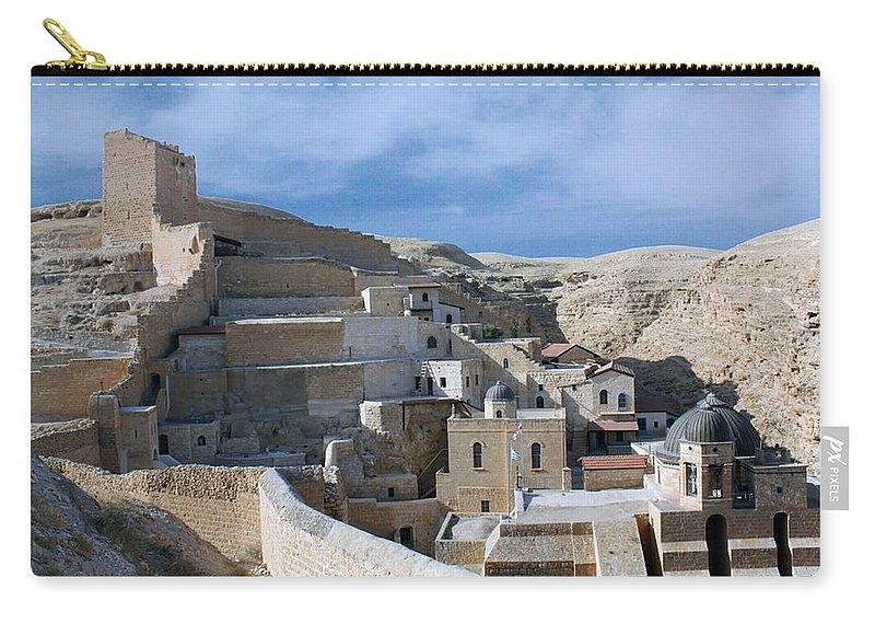 Bethlehem Carry-all Pouch featuring the photograph Bethlehem - Mar Saba Monstary 2010 by Munir Alawi