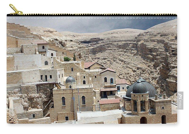 Bethlehem Carry-all Pouch featuring the photograph Bethlehem - Mar Saba Monstary1 by Munir Alawi