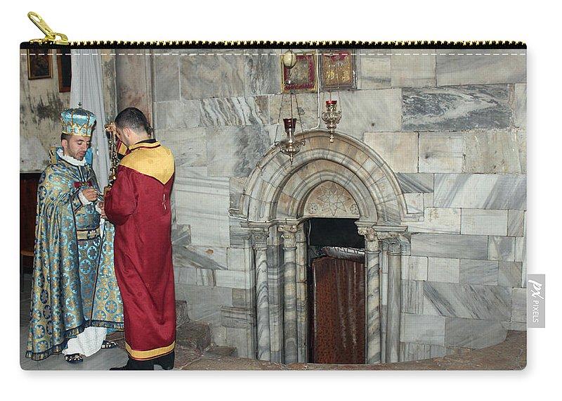 Armenian Carry-all Pouch featuring the photograph Bethlehem - Nativity Church - Preparation For Armenian Mass by Munir Alawi
