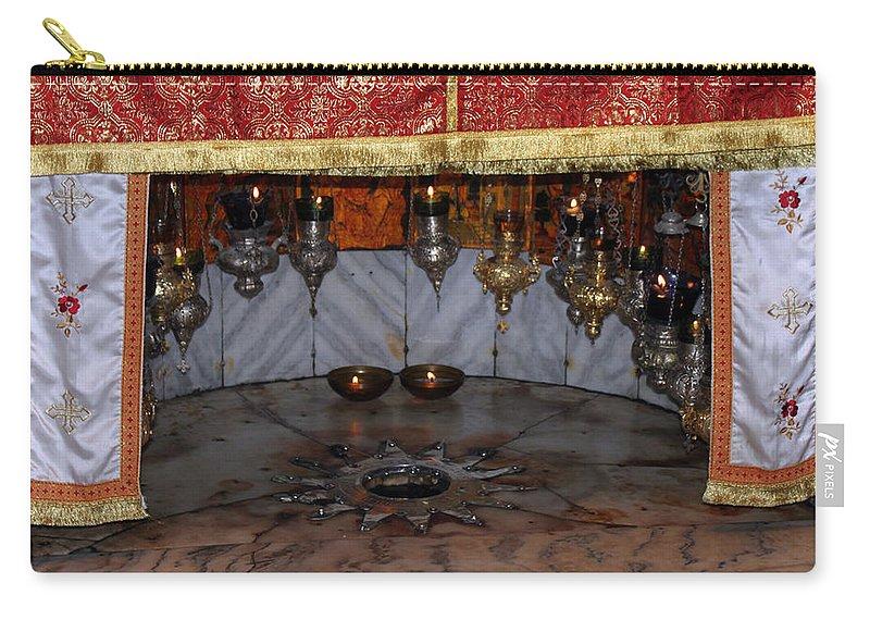 Bethlehem Carry-all Pouch featuring the photograph Bethlehem - Nativity Church - Silver Star by Munir Alawi