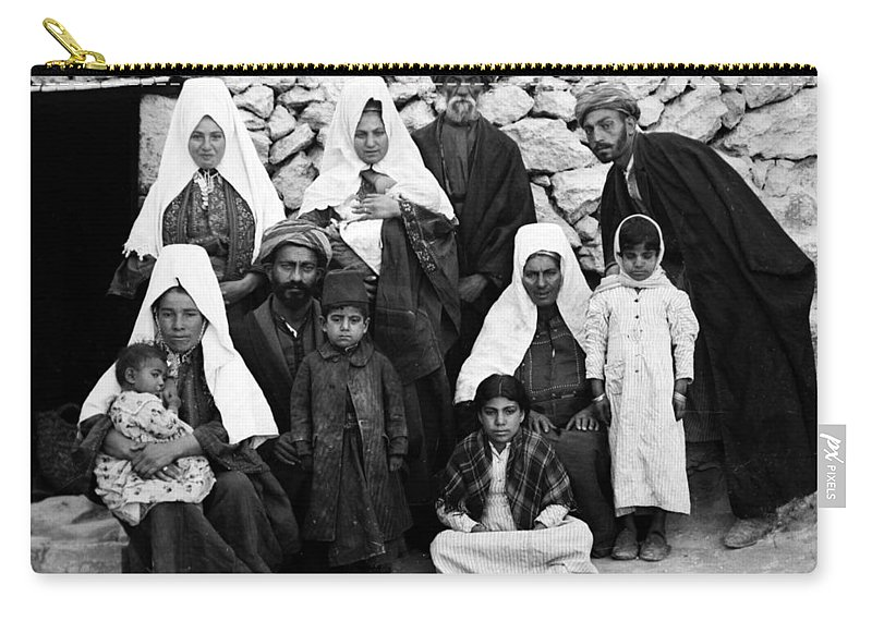 Bethlehem Carry-all Pouch featuring the photograph Bethlehem Family In 1900s by Munir Alawi