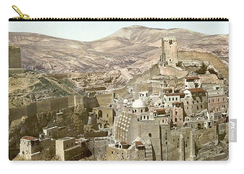Bethlehem Carry-all Pouch featuring the photograph Bethlehem Mar Saba Monastery by Munir Alawi