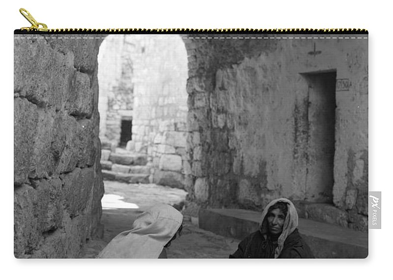 Bethlehem Carry-all Pouch featuring the photograph Bethlehemites Making Bread by Munir Alawi