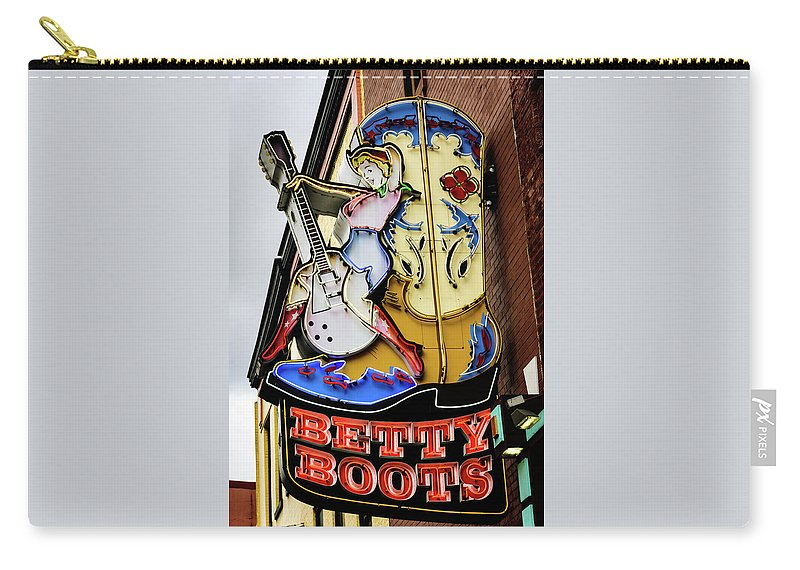 Betty Boots Carry-all Pouch featuring the photograph Betty Boots - Nashville Tn by Debra Martz