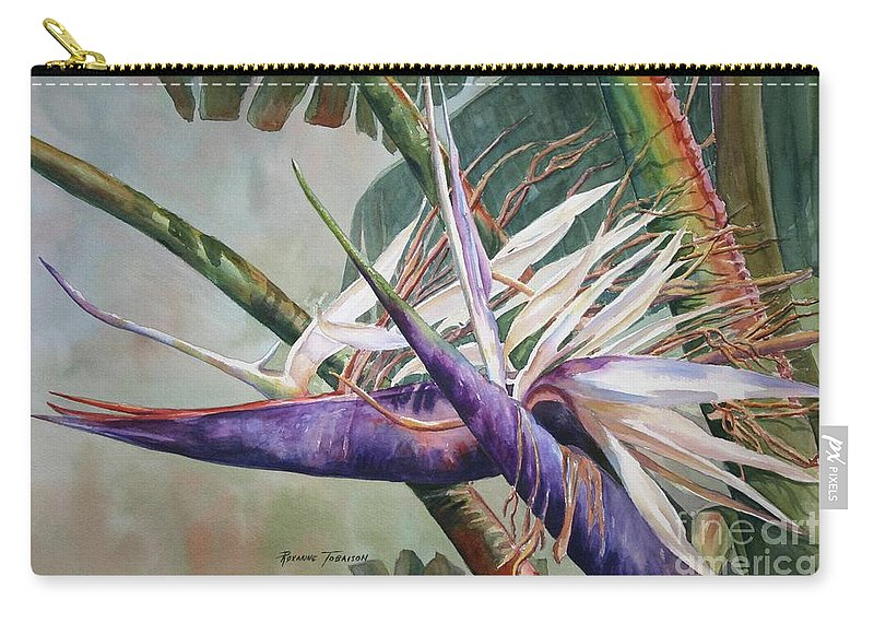 Bird Of Paradise Carry-all Pouch featuring the painting Betty's Bird - Bird Of Paradise by Roxanne Tobaison