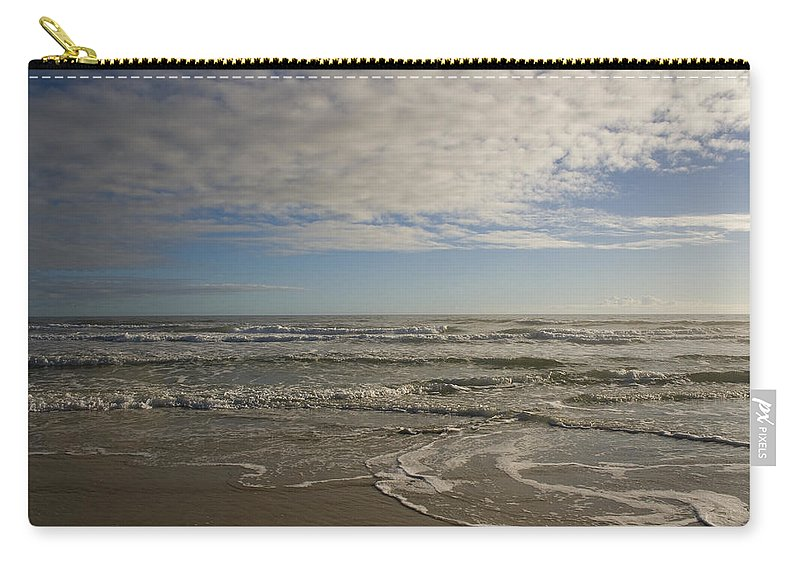 Wave Sand Ocean Beach Sky Water Wave Tide Sun Sunny Vacation Cloud Morning Early Carry-all Pouch featuring the photograph Between Night And Day by Andrei Shliakhau