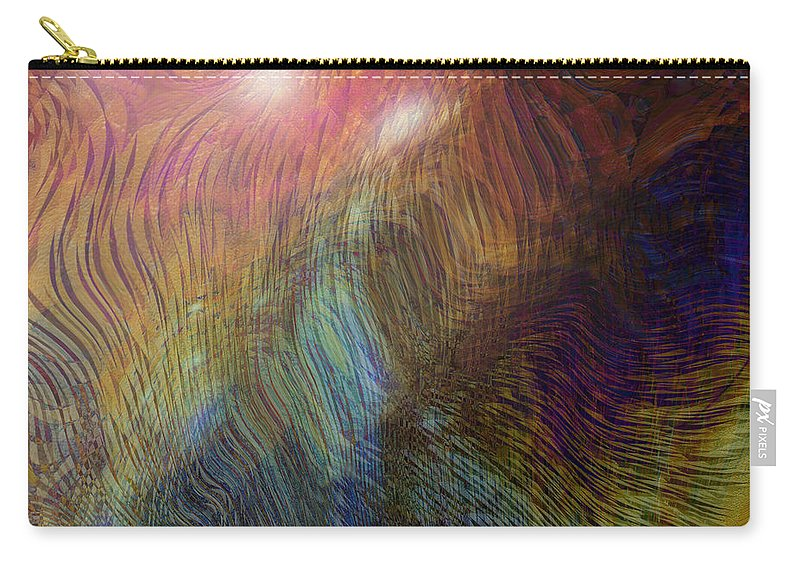 Abstract Art Carry-all Pouch featuring the digital art Between The Lines by Linda Sannuti