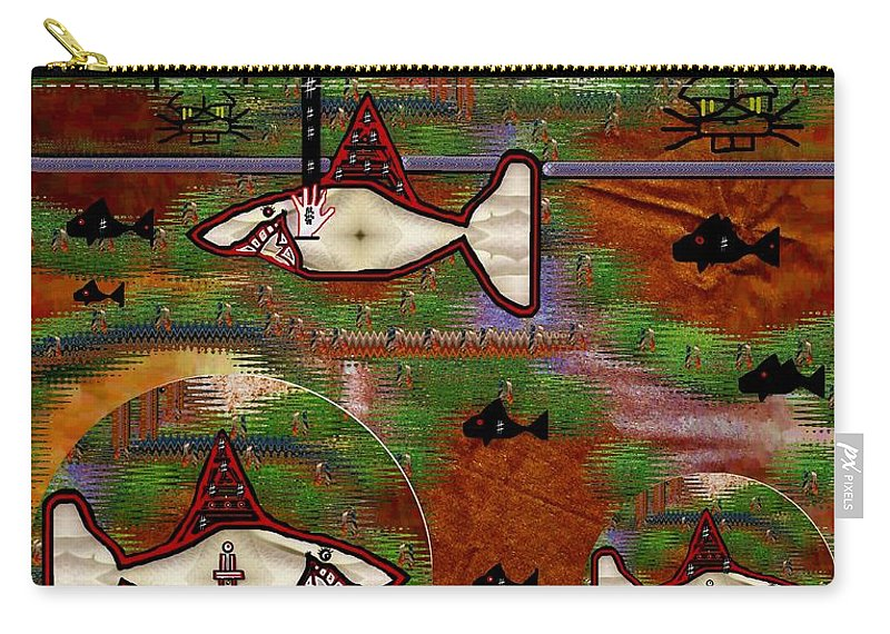 Shark Carry-all Pouch featuring the mixed media Beware Of The Dog by Pepita Selles