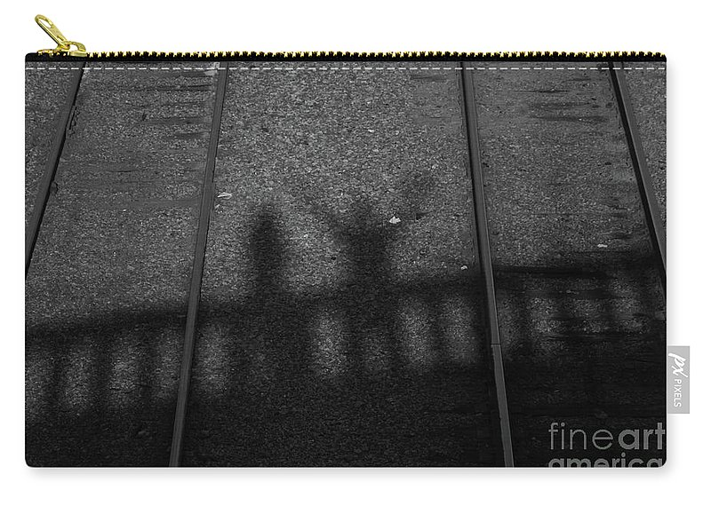Shadow Carry-all Pouch featuring the photograph Beware Of The Shadows Black And White by Karol Livote