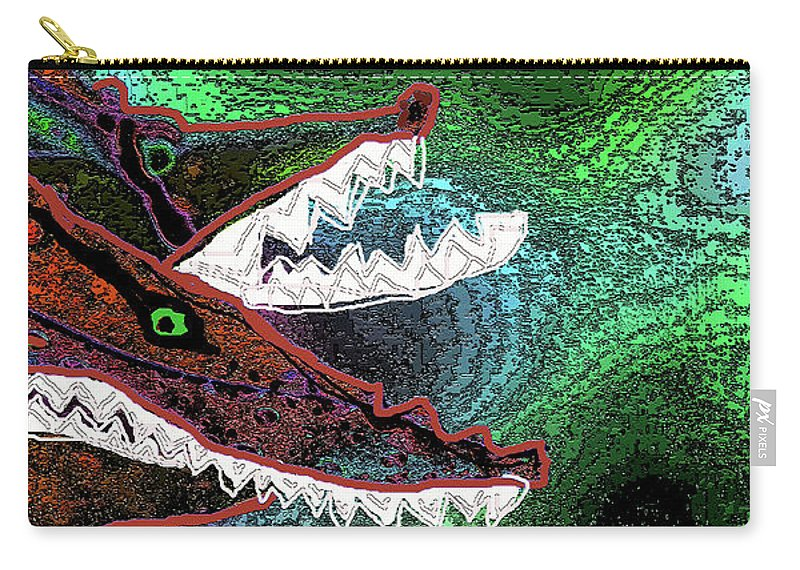 Ocean Carry-all Pouch featuring the digital art Beware, When You Decide To Swim With The Big Fish by Wendy Sheridan