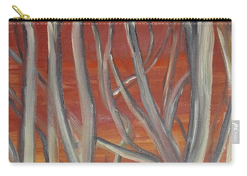 Trees Forest Original Painting Abstract Carry-all Pouch featuring the painting Beyond by Leila Atkinson