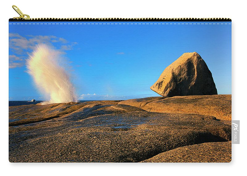 Bicheno Blowhole Carry-all Pouch featuring the photograph Bicheno Blowhole by Mike Dawson