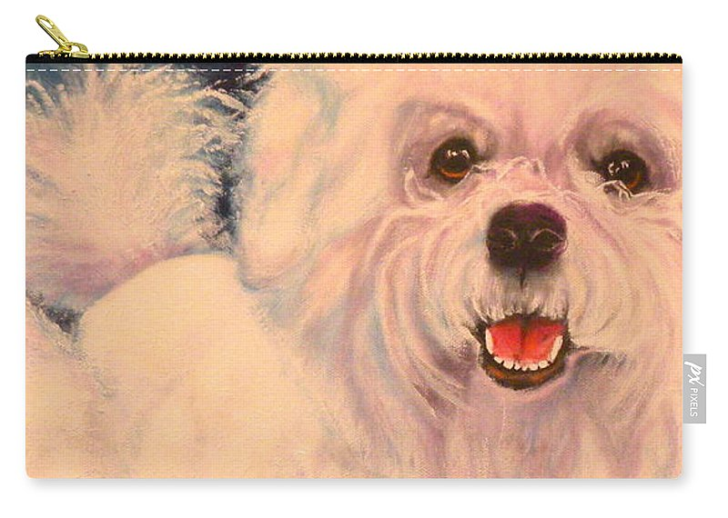 Bichon Frise Carry-all Pouch featuring the painting Bichon Frise by Susan A Becker