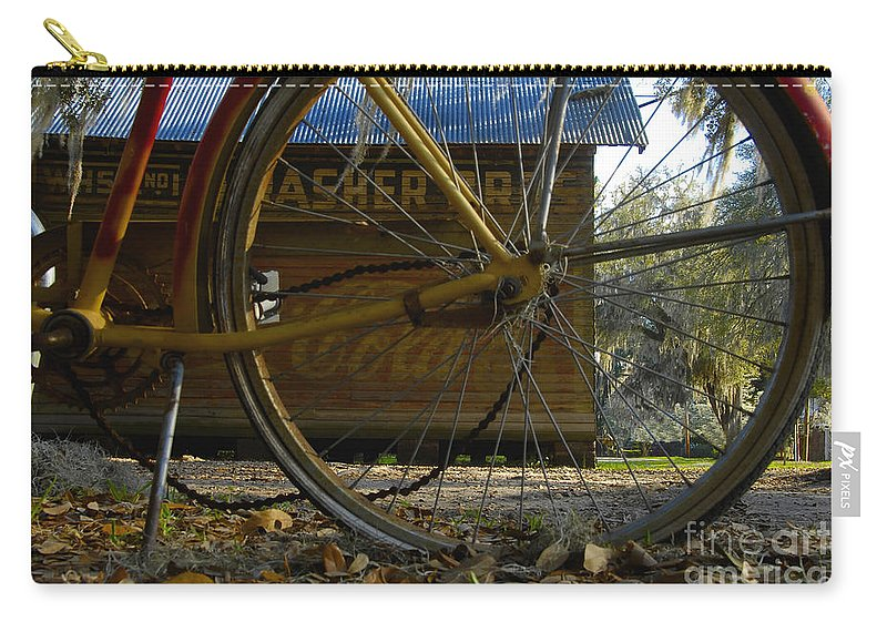 Bicycle Carry-all Pouch featuring the photograph Bicycle At Micanopy by David Lee Thompson