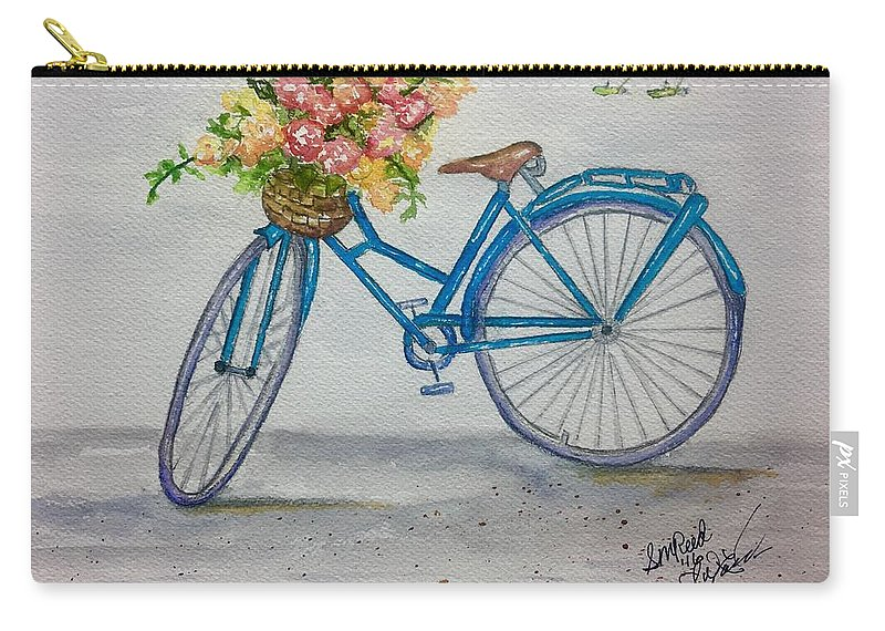 Bicycle Carry-all Pouch featuring the painting Bicycle I by Sharon Reed