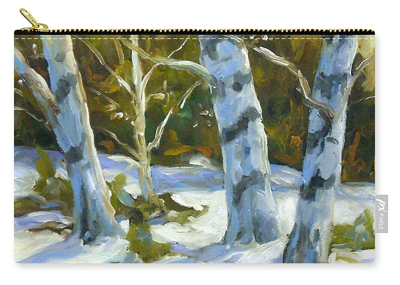 Art Carry-all Pouch featuring the painting Big Birches In Winter by Richard T Pranke