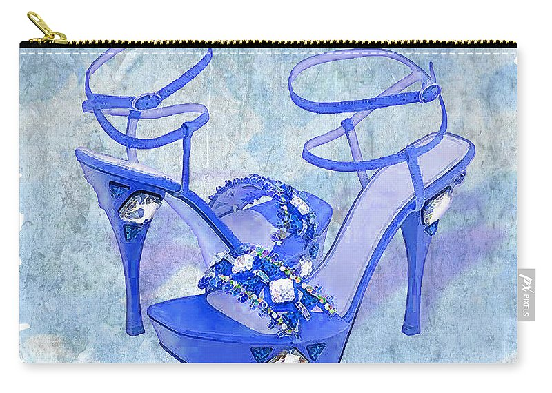 Shoes Heels Pumps Fashion Designer Feet Foot Shoe Stilettos Painting Paintings Illustration Illustrations Sketch Sketches Drawing Drawings Pump Stiletto Fetish Designer Fashion Boot Boots Footwear Sandal Sandals High+heels High+heel Women's+shoes Graphic Sophisticated Elegant Modern Carry-all Pouch featuring the painting Big Blue Bling by Elaine Plesser