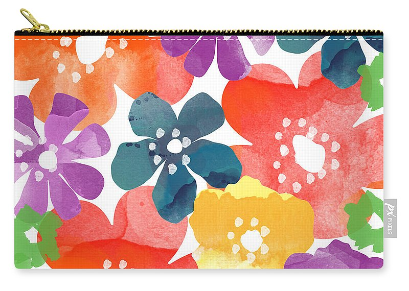 Flowers Carry-all Pouch featuring the painting Big Bright Flowers by Linda Woods