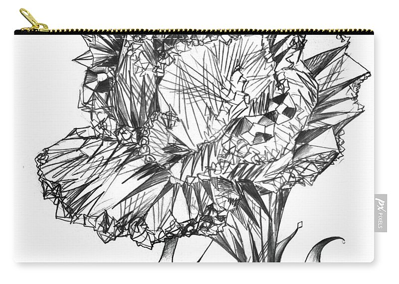 Crystal Carry-all Pouch featuring the drawing Big Diamond Crystal Flower by Sofia Metal Queen
