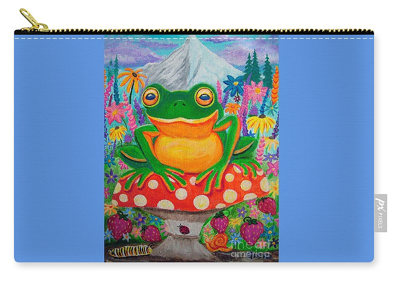 Frog Carry-all Pouch featuring the painting Big Green Frog On Red Mushroom by Nick Gustafson